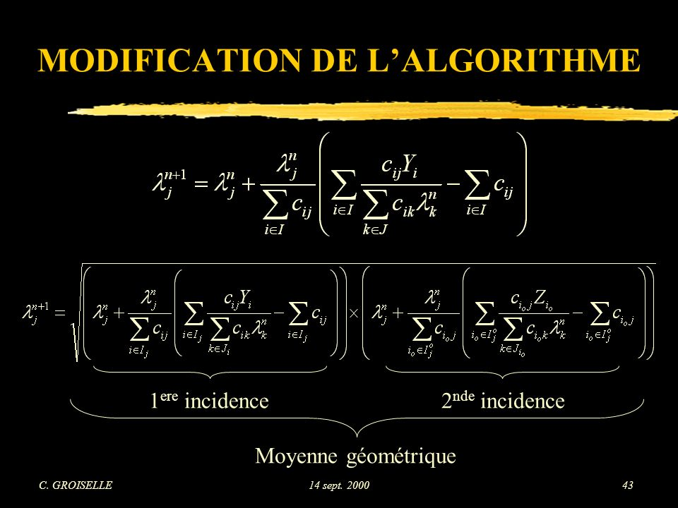 MODIFICATION DE L'ALGORITHME