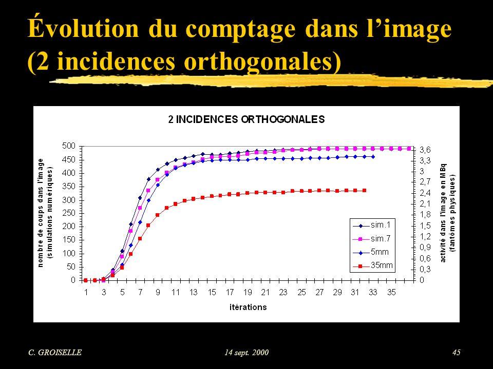 Évolution du comptage dans l'image (2 incidences orthogonales)