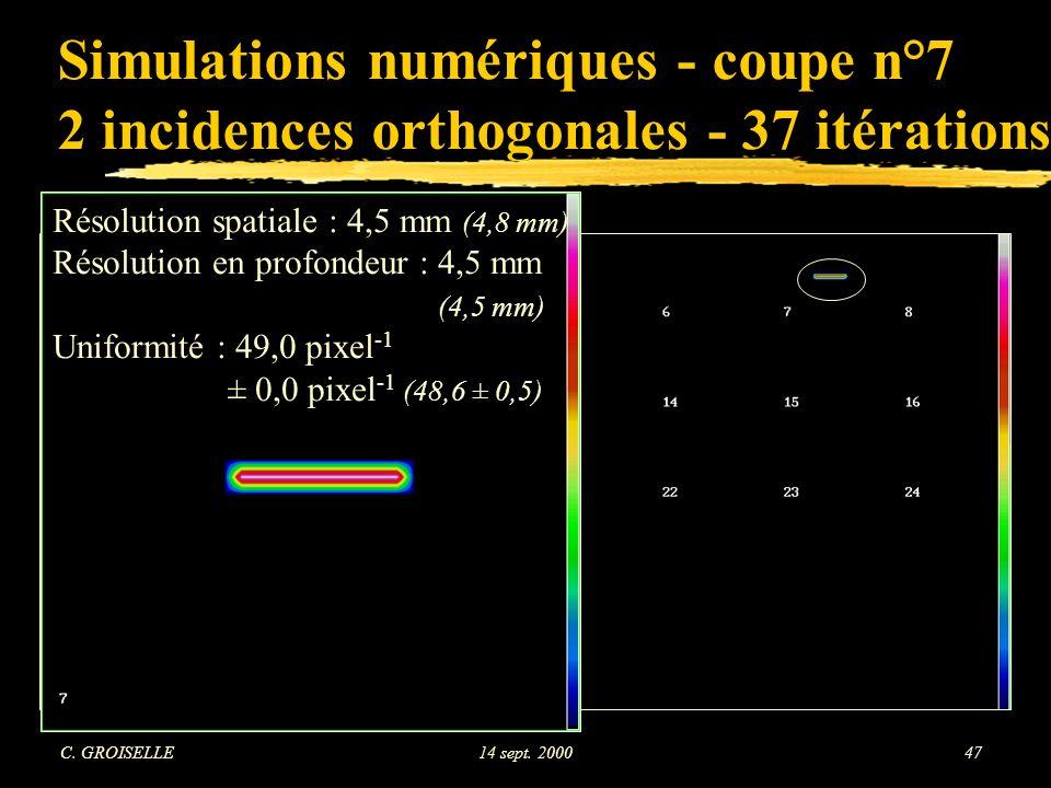 Simulations numériques - coupe n°7 2 incidences orthogonales - 37 itérations