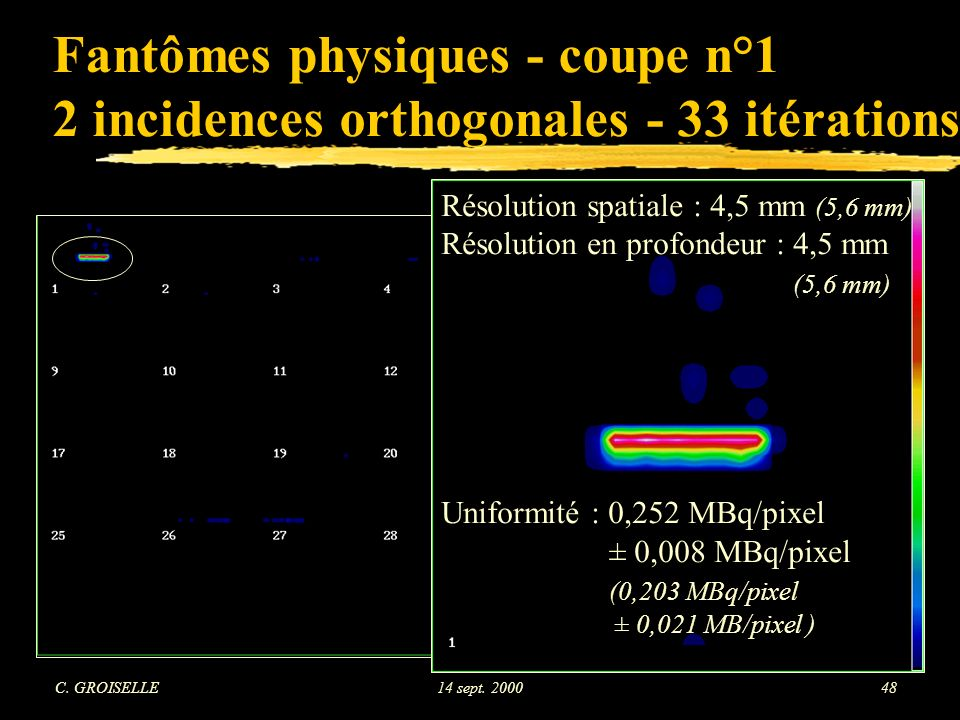 Fantômes physiques - coupe n°1 2 incidences orthogonales - 33 itérations