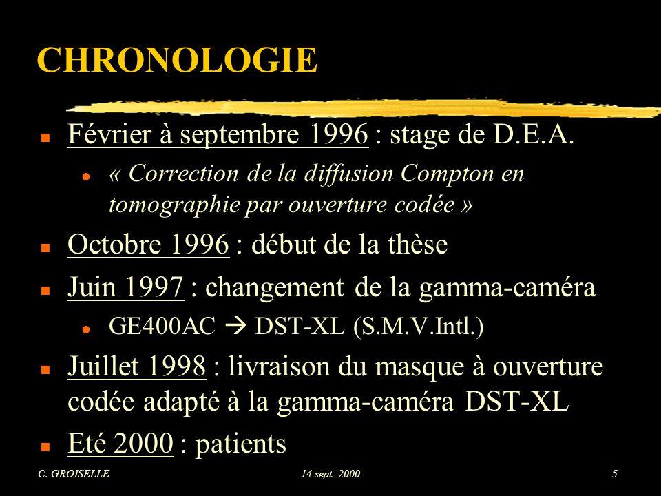 CHRONOLOGIE Février à septembre 1996 : stage de D.E.A.