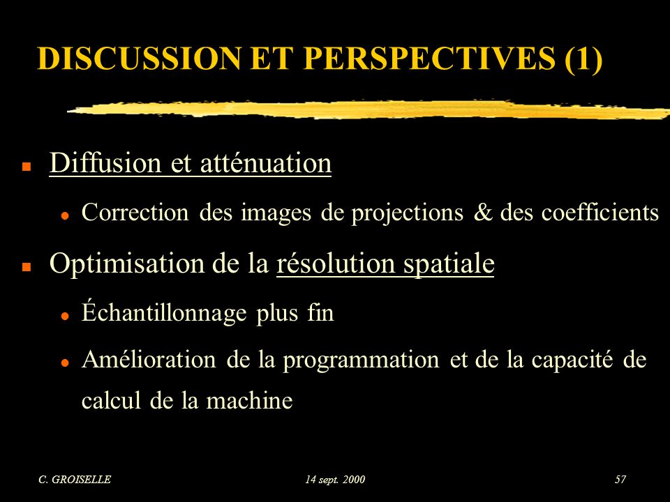DISCUSSION ET PERSPECTIVES (1)