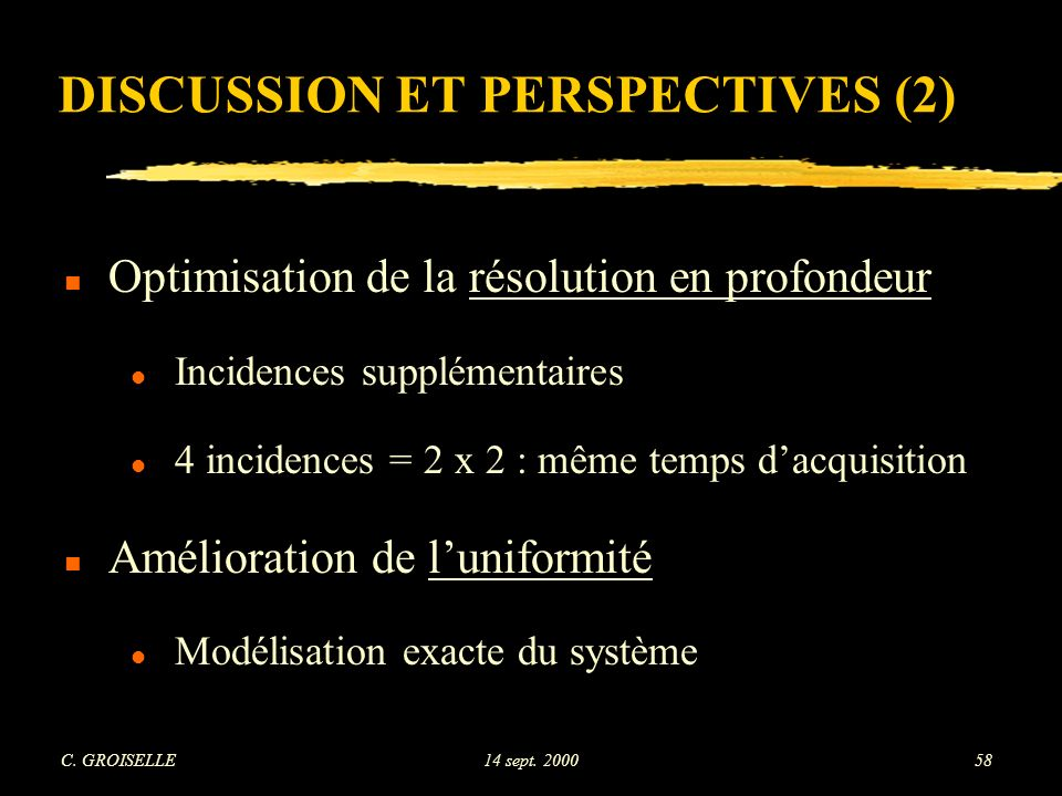 DISCUSSION ET PERSPECTIVES (2)