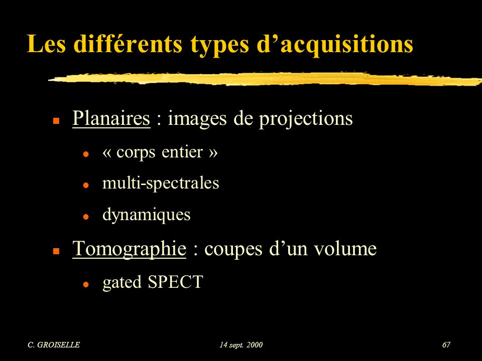 Les différents types d'acquisitions