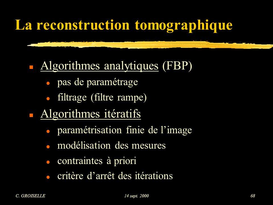 La reconstruction tomographique