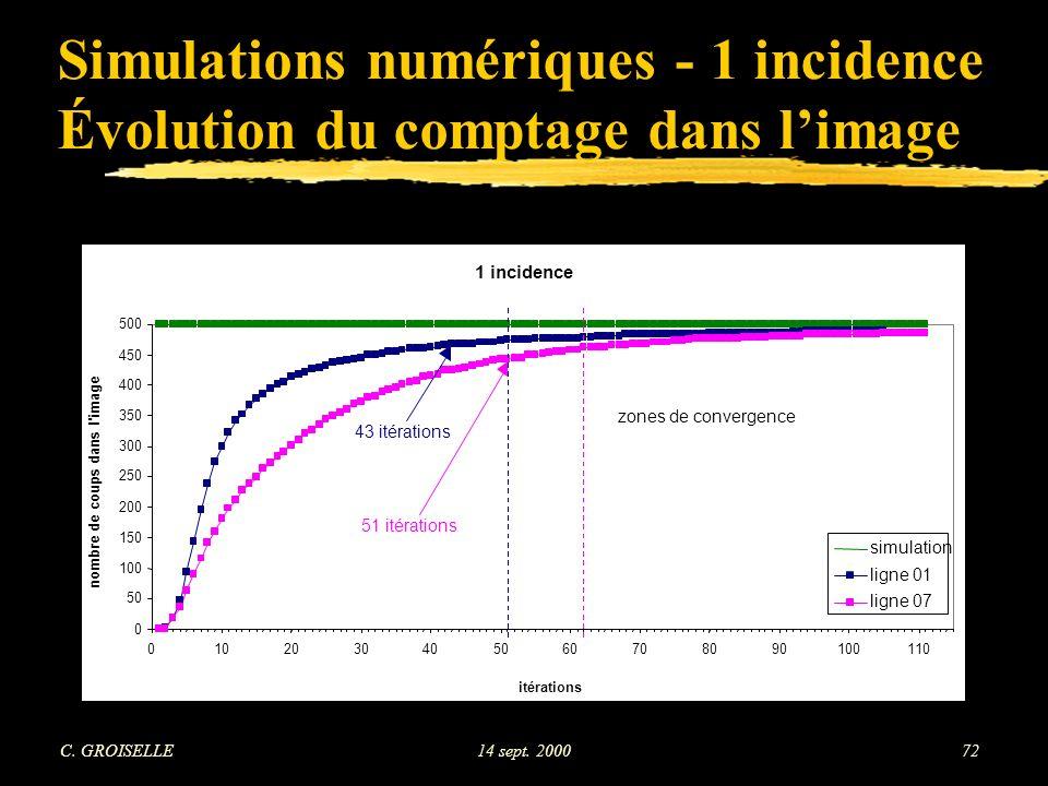 Simulations numériques - 1 incidence Évolution du comptage dans l'image