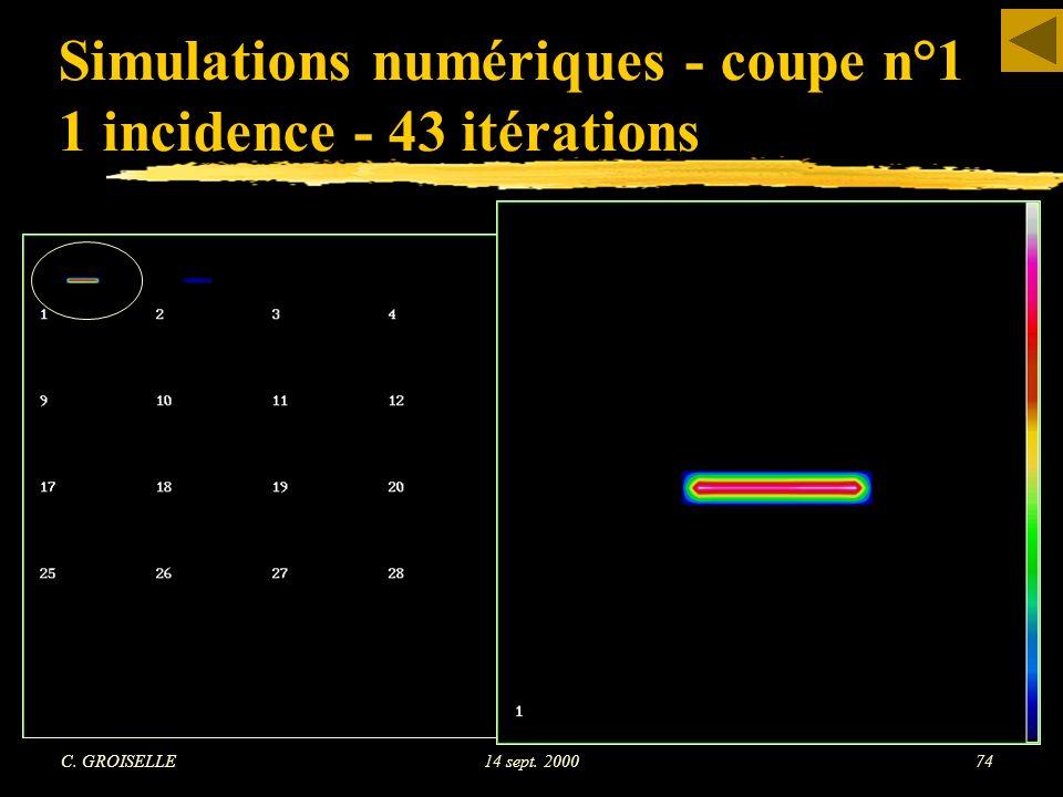 Simulations numériques - coupe n°1 1 incidence - 43 itérations