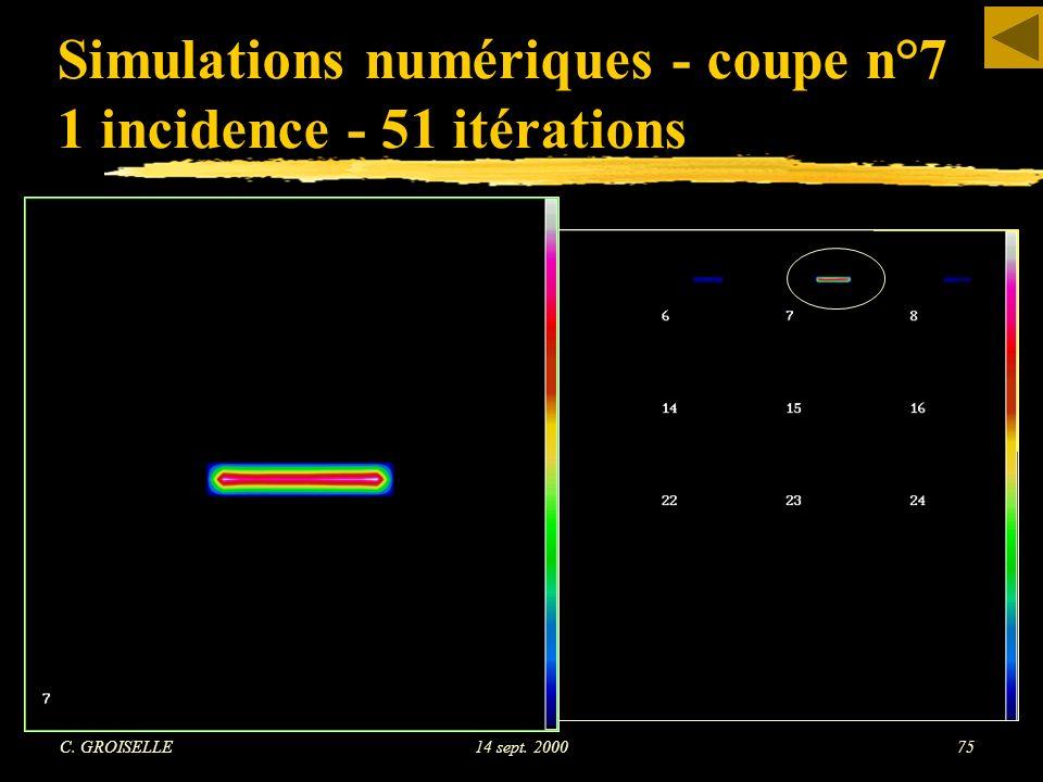 Simulations numériques - coupe n°7 1 incidence - 51 itérations