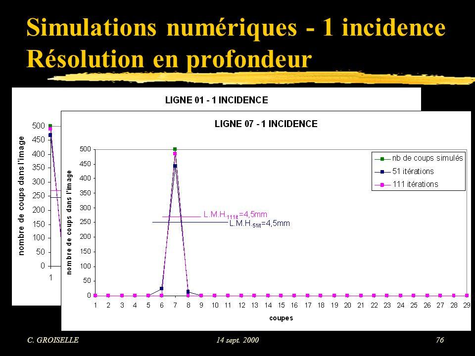 Simulations numériques - 1 incidence Résolution en profondeur