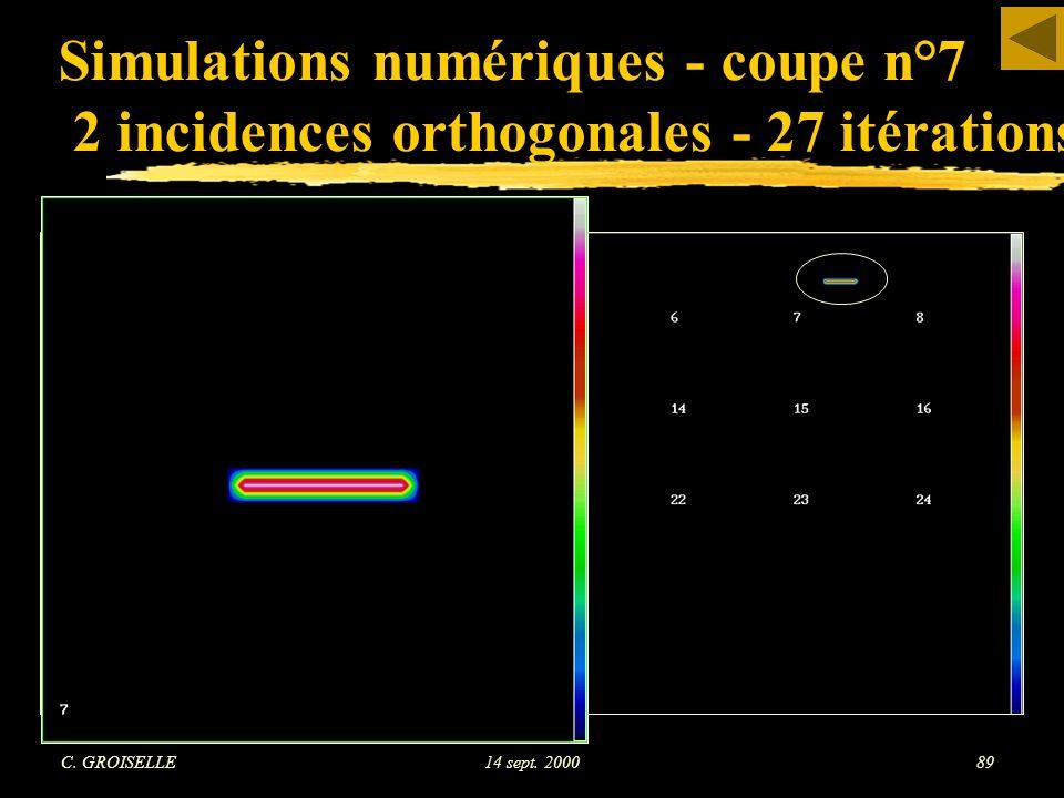Simulations numériques - coupe n°7 2 incidences orthogonales - 27 itérations