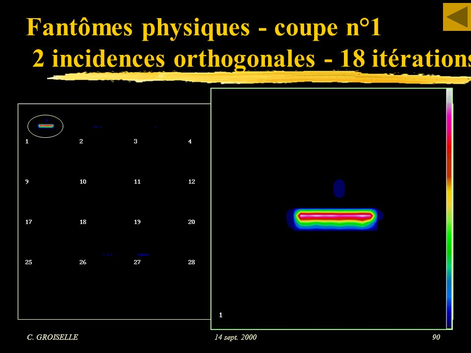 Fantômes physiques - coupe n°1 2 incidences orthogonales - 18 itérations