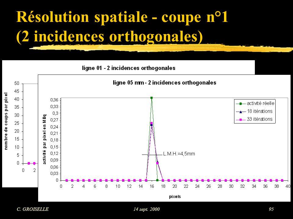 Résolution spatiale - coupe n°1 (2 incidences orthogonales)
