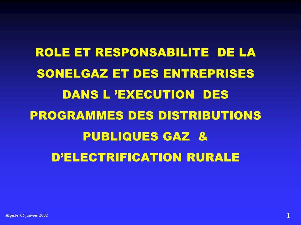 ROLE ET RESPONSABILITE DE LA SONELGAZ ET DES ENTREPRISES DANS L 'EXECUTION DES PROGRAMMES DES DISTRIBUTIONS PUBLIQUES GAZ & D'ELECTRIFICATION RURALE