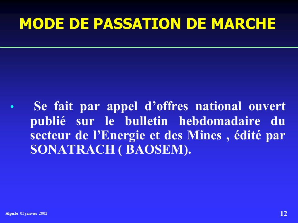 MODE DE PASSATION DE MARCHE