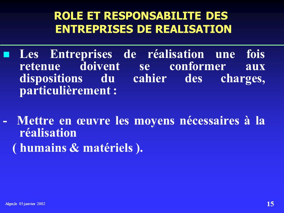 ROLE ET RESPONSABILITE DES ENTREPRISES DE REALISATION