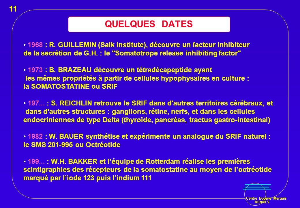 11 QUELQUES DATES. 1968 : R. GUILLEMIN (Salk Institute), découvre un facteur inhibiteur.