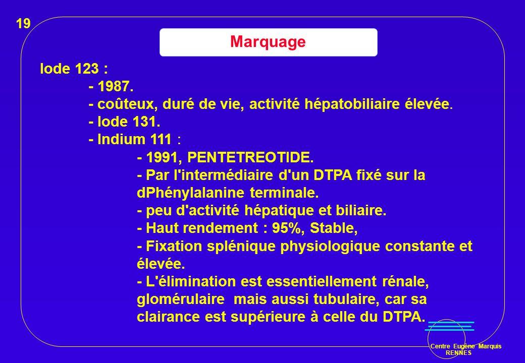 19 Marquage. Iode 123 : - 1987. - coûteux, duré de vie, activité hépatobiliaire élevée. - Iode 131.