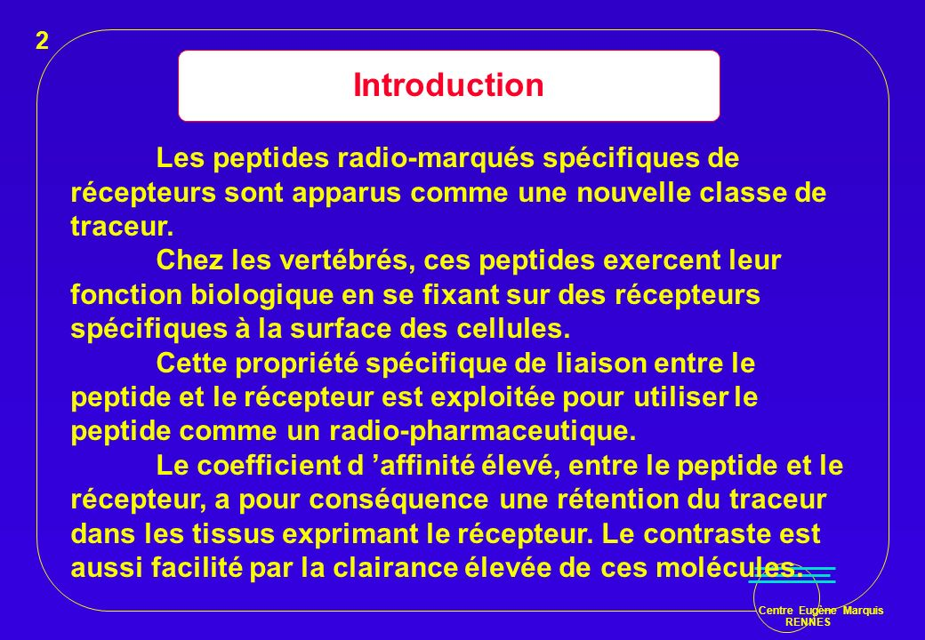 2 Introduction. Les peptides radio-marqués spécifiques de récepteurs sont apparus comme une nouvelle classe de traceur.