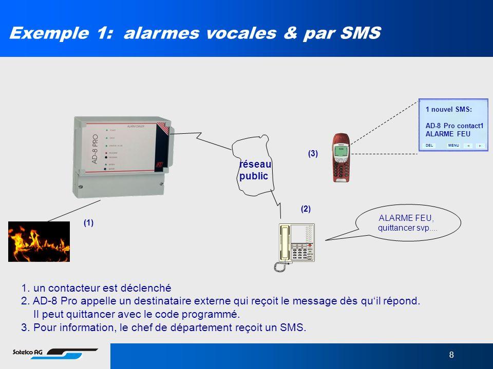 Exemple 1: alarmes vocales & par SMS