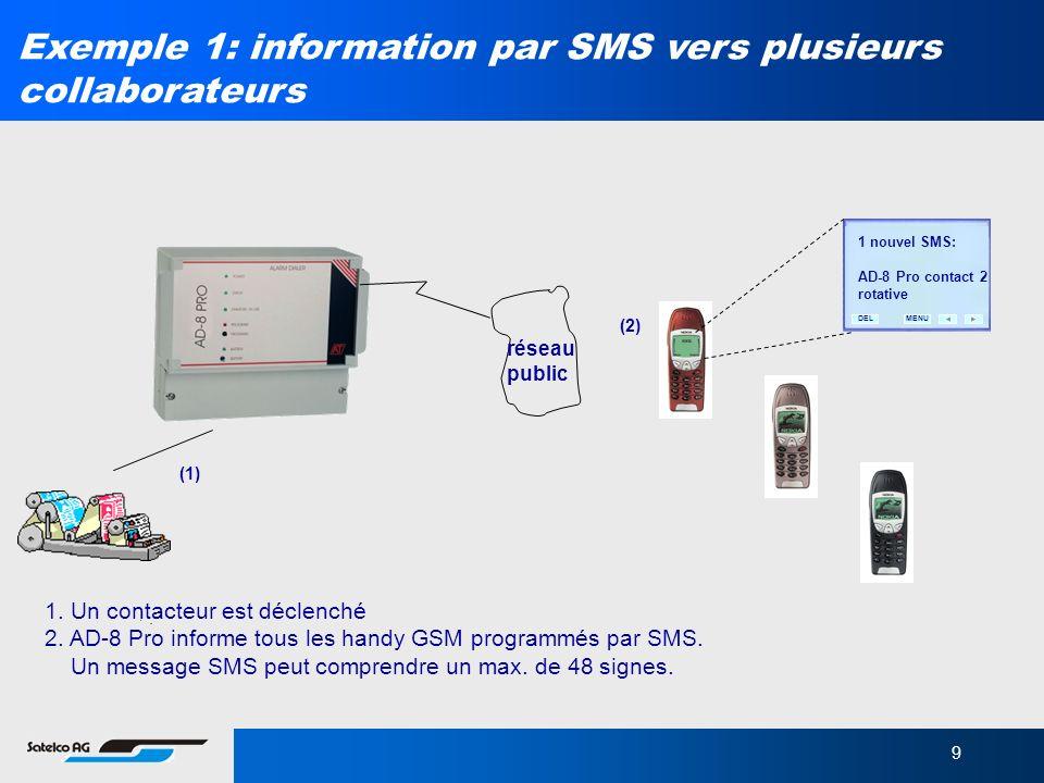 Exemple 1: information par SMS vers plusieurs collaborateurs