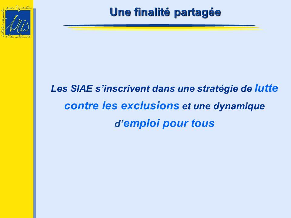 Une finalité partagée Les SIAE s'inscrivent dans une stratégie de lutte contre les exclusions et une dynamique d'emploi pour tous.