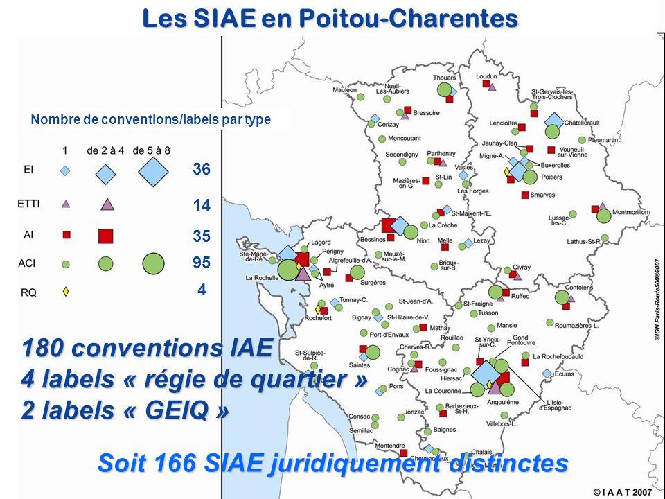 Les SIAE en Poitou-Charentes Soit 166 SIAE juridiquement distinctes