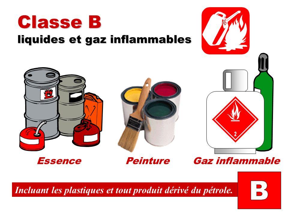 Classe B liquides et gaz inflammables