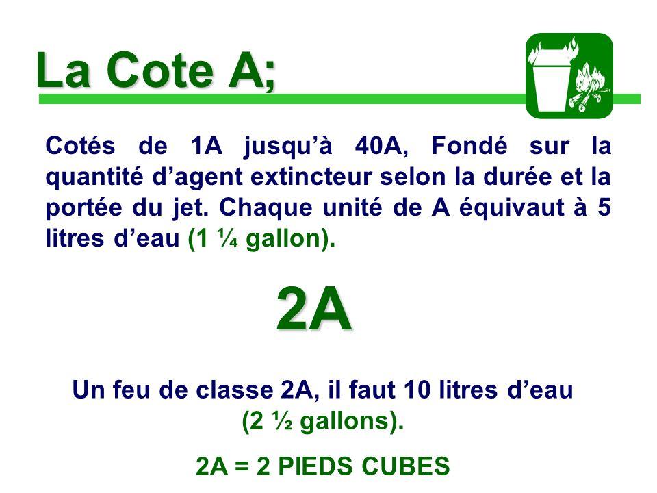 Un feu de classe 2A, il faut 10 litres d'eau (2 ½ gallons).