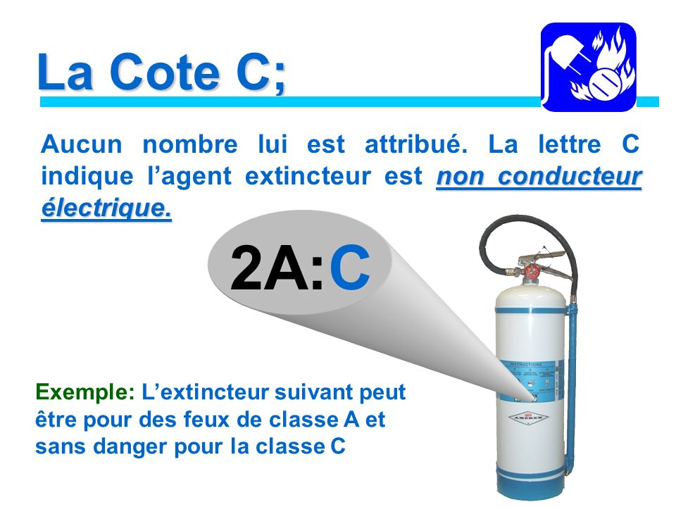 La Cote C; Aucun nombre lui est attribué. La lettre C indique l'agent extincteur est non conducteur électrique.