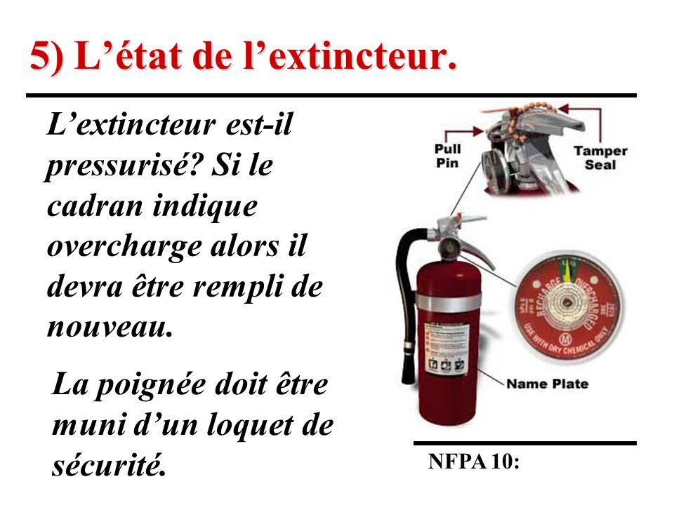5) L'état de l'extincteur.