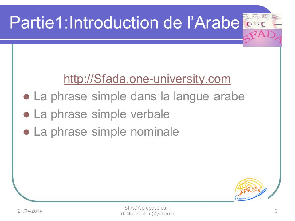 Partie1:Introduction de l'Arabe