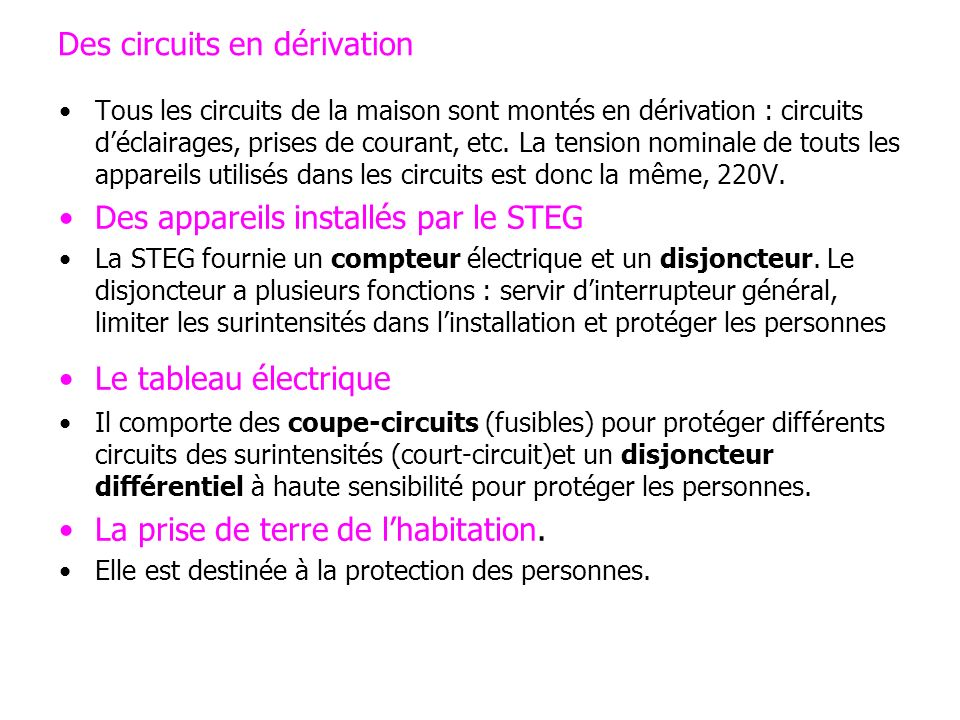 Des circuits en dérivation