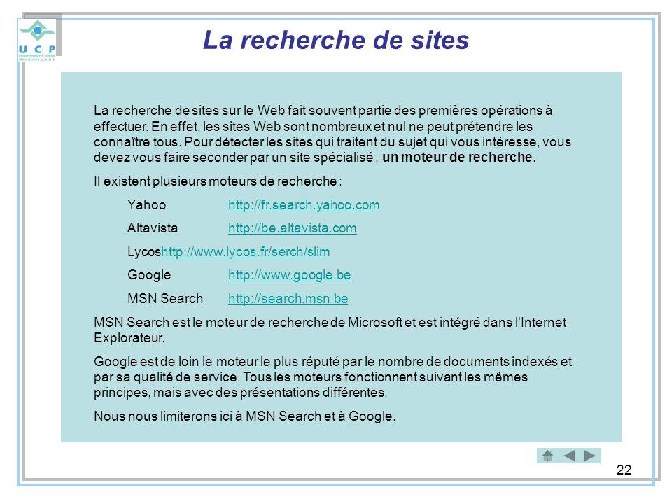 La recherche de sites