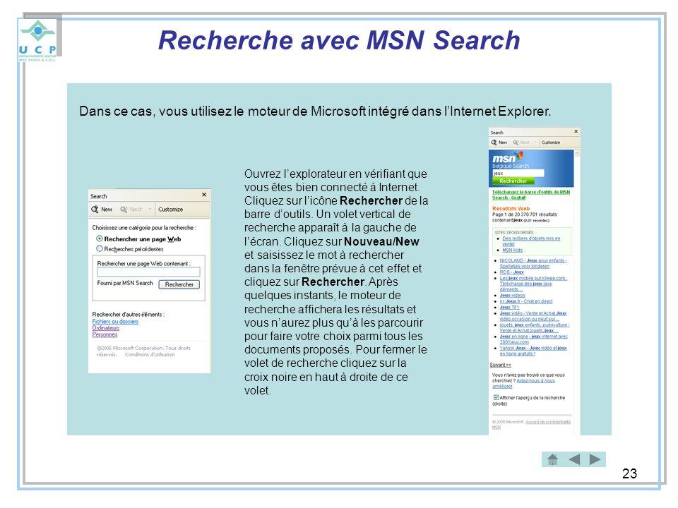 Recherche avec MSN Search
