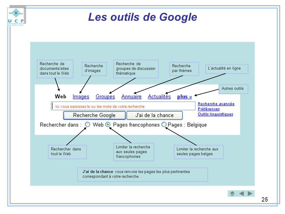 Les outils de Google Recherche de documents/sites dans tout le Web
