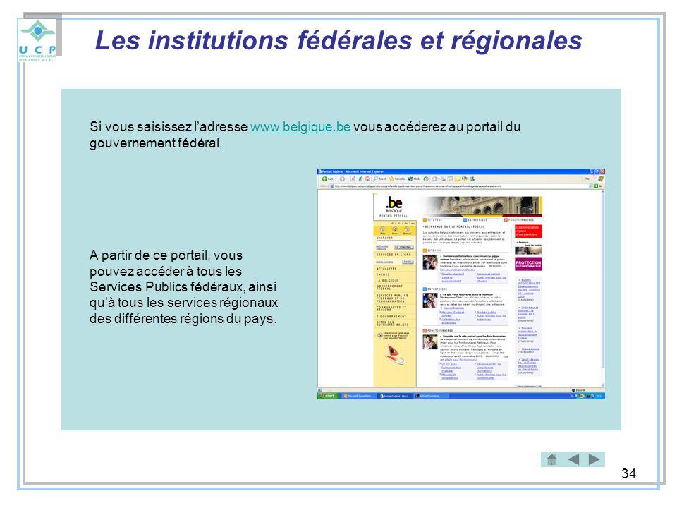 Les institutions fédérales et régionales