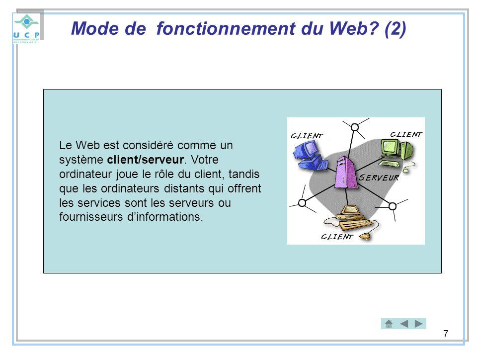 Mode de fonctionnement du Web (2)