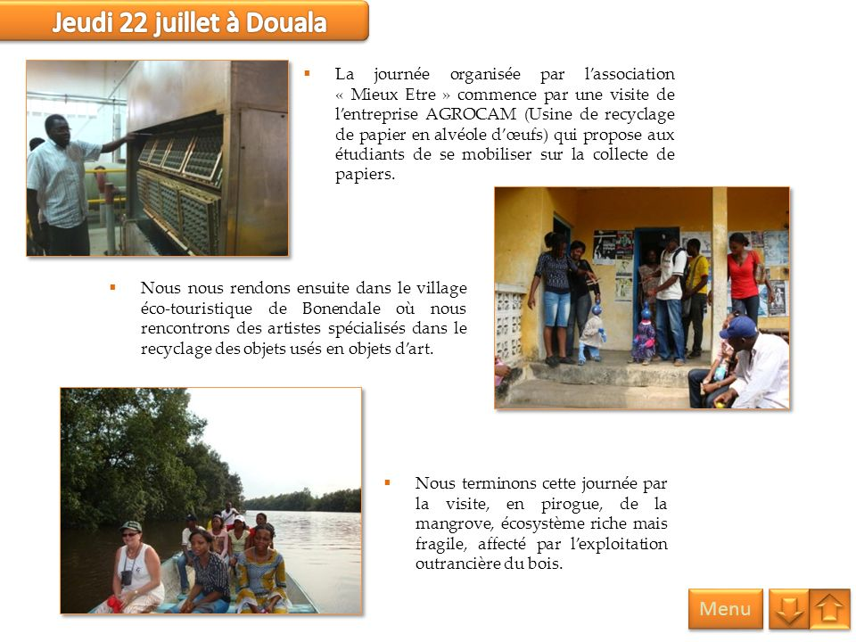 Jeudi 22 juillet à Douala Menu