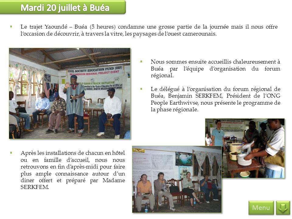 Mardi 20 juillet à Buéa Menu