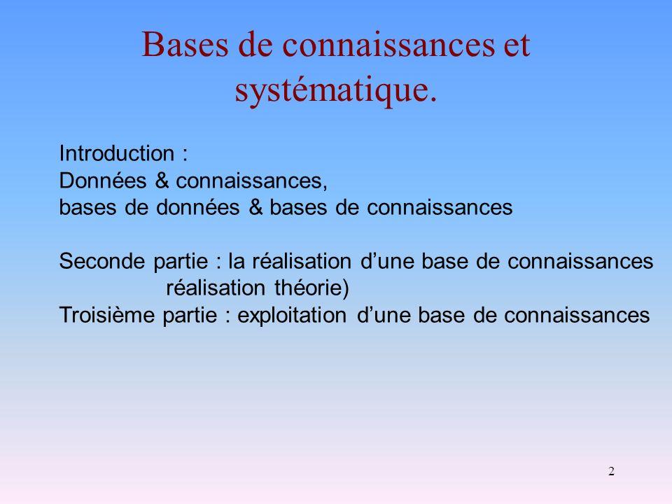 Bases de connaissances et systématique.