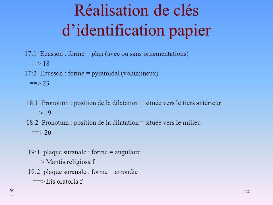 Réalisation de clés d'identification papier
