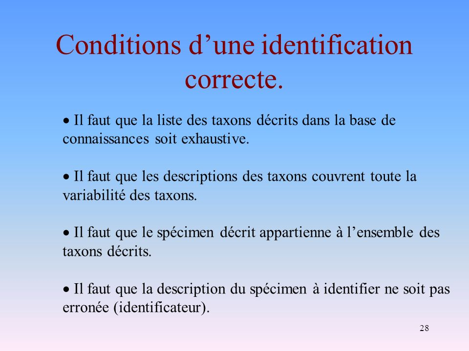 Conditions d'une identification correcte.