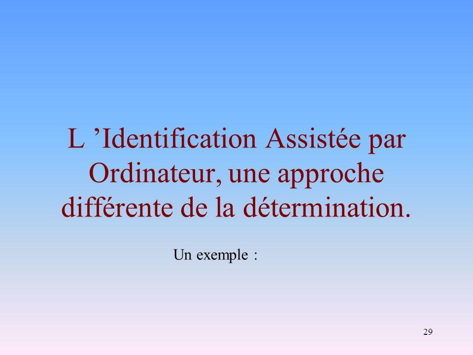 L 'Identification Assistée par Ordinateur, une approche différente de la détermination.