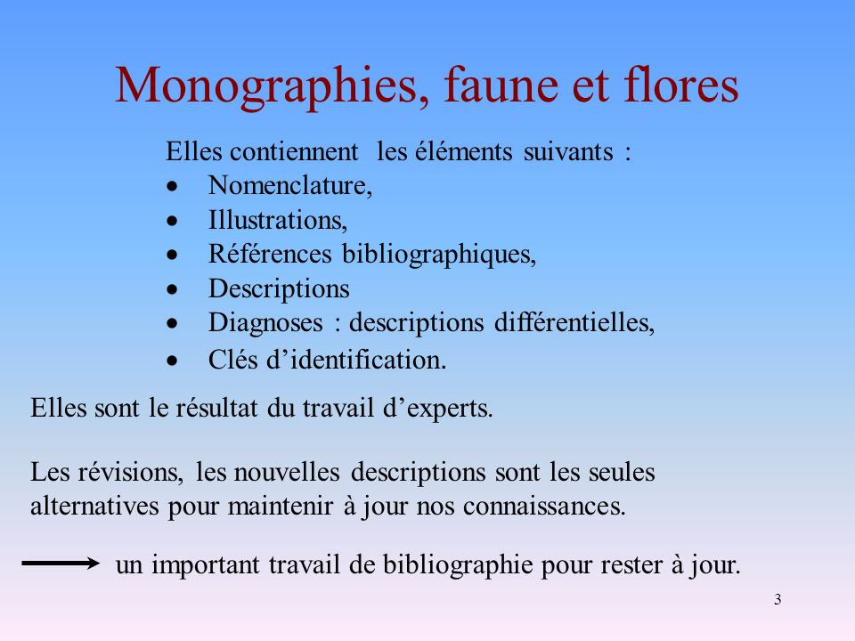 Monographies, faune et flores