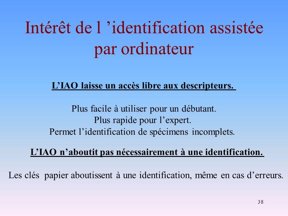 Intérêt de l 'identification assistée par ordinateur