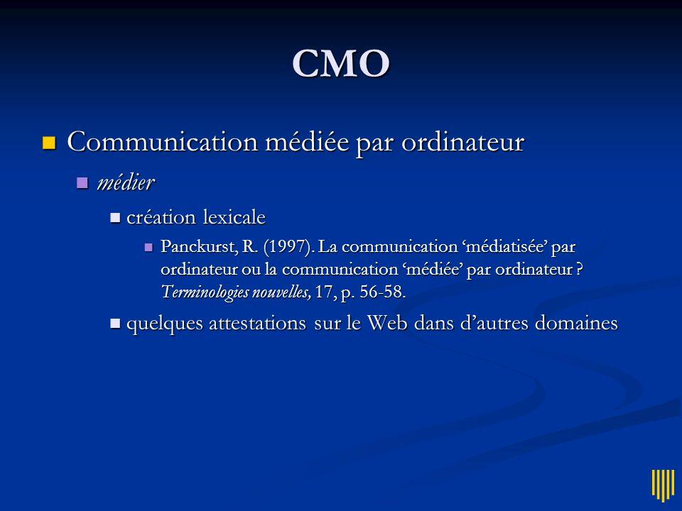 CMO Communication médiée par ordinateur médier création lexicale