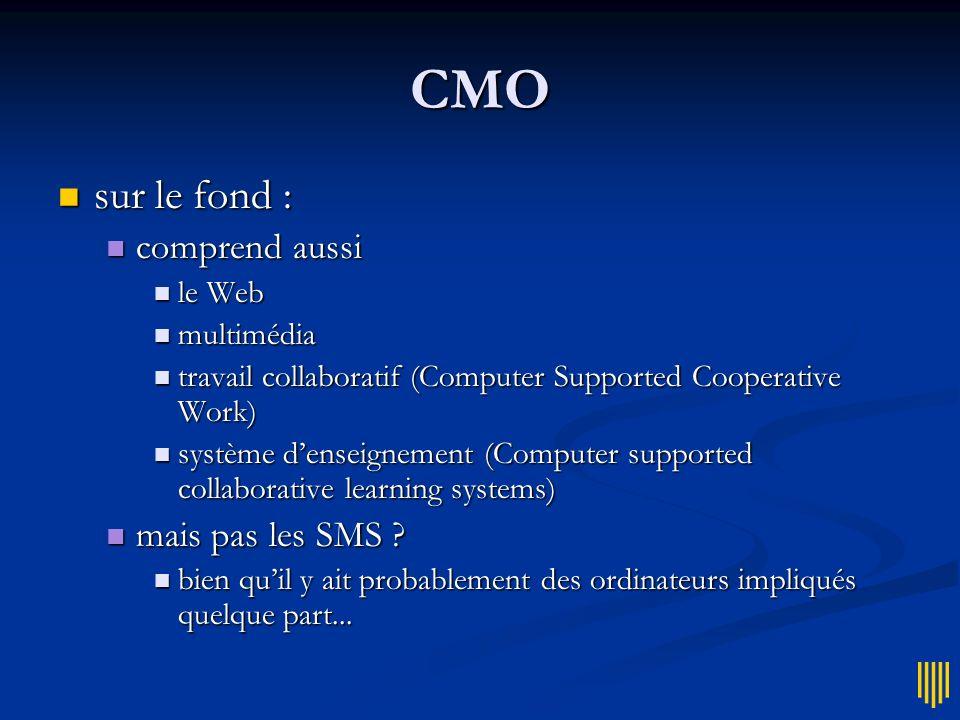 CMO sur le fond : comprend aussi mais pas les SMS le Web multimédia