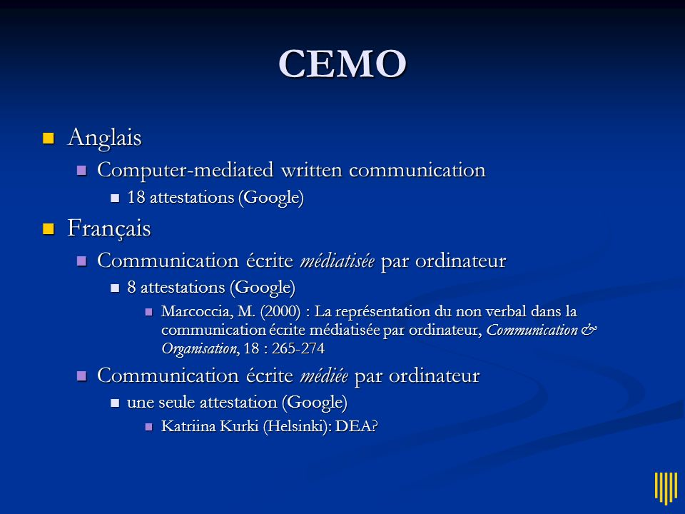CEMO Anglais Français Computer-mediated written communication