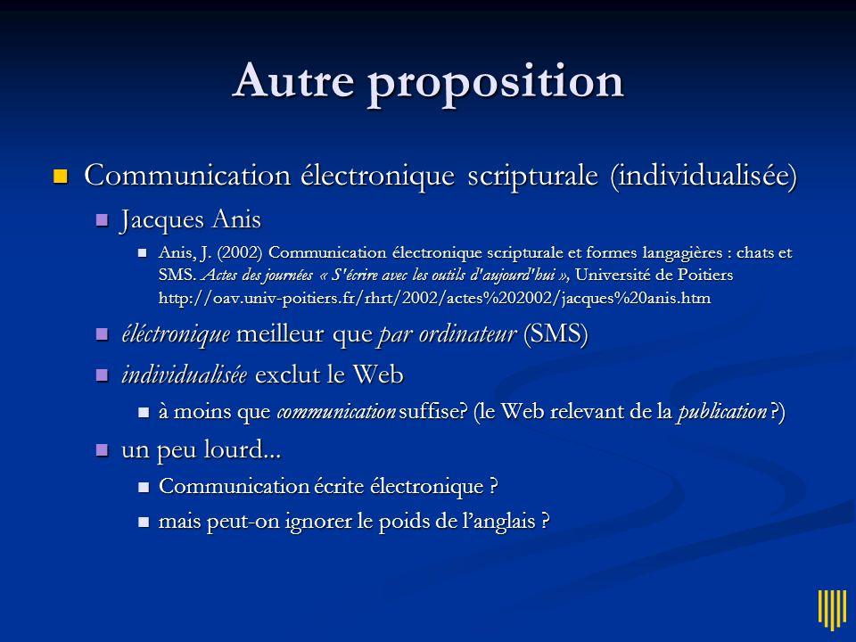 Autre proposition Communication électronique scripturale (individualisée) Jacques Anis.