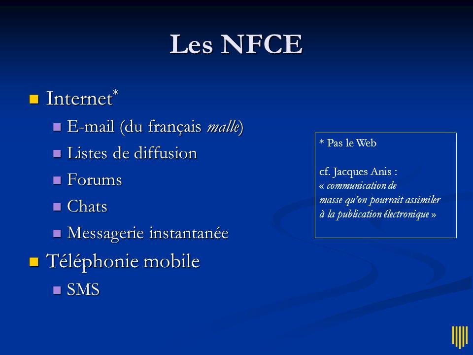 Les NFCE Internet* Téléphonie mobile E-mail (du français malle)
